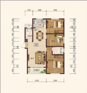 H-三室二厅二卫一厨-户型图