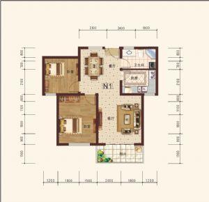 N1-二室二厅一卫一厨-户型图