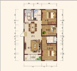P1-三室二厅一卫一厨-户型图