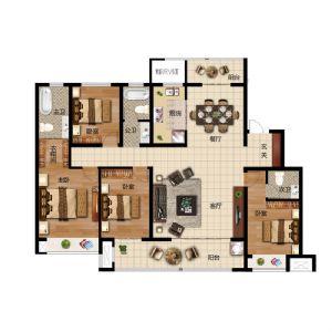 J户型-四室二厅三卫一厨-户型图