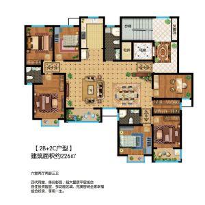 2B+2C户型-六室二厅三卫二厨-户型图