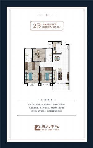 2B户型-三室二厅二卫一厨-户型图