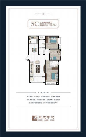 5C户型-三室二厅二卫一厨-户型图