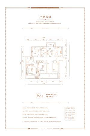 B3户型-三室二厅二卫一厨-户型图
