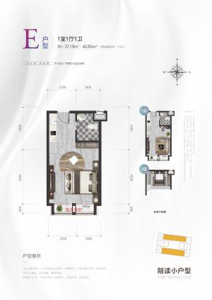 E户型-一室一厅一卫一厨-户型图