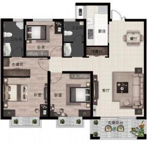 B2户型-三室二厅二卫一厨-户型图