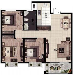E2户型-三室二厅一卫一厨-户型图