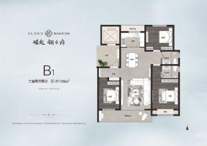 B1户型约124㎡-三室二厅二卫一厨-户型图