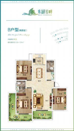 B户型(偶数层))-三室二厅二卫一厨-户型图