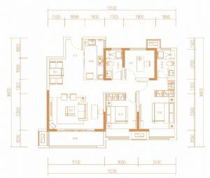A户型117㎡-三室二厅三卫一厨-户型图