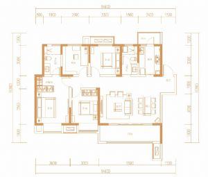 B户型141㎡-三室二厅二卫一厨-户型图