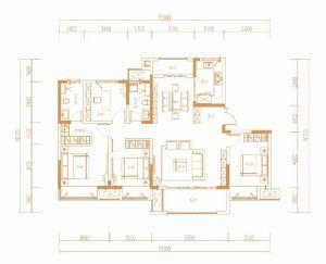 D户型143㎡-四室二厅二卫一厨-户型图
