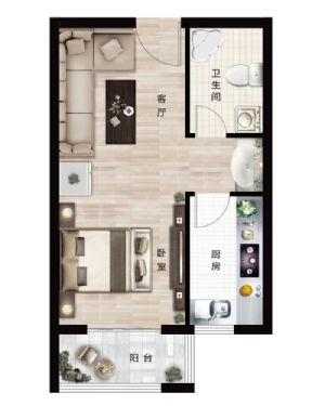 户型-一室一厅一卫厨-户型图