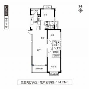 十三号楼-三室二厅二卫一厨-户型图
