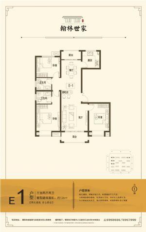 E1-三室二厅二卫一厨-户型图