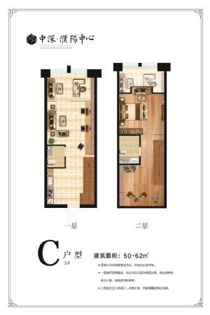 C-一室二厅二卫一厨-户型图
