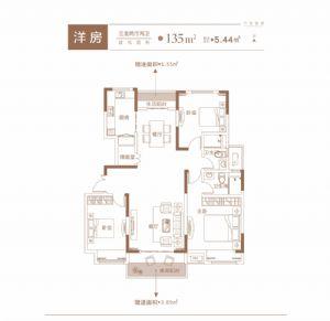 洋房-三室二厅二卫一厨-户型图