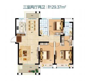 三室户型-三室二厅二卫一厨-户型图