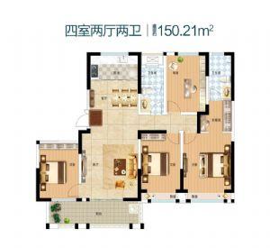 4室-四室二厅二卫一厨-户型图