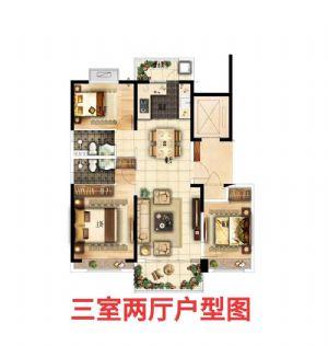 YJ125户型-三室二厅二卫一厨-户型图