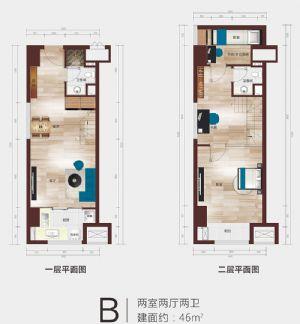 B公寓户型平面图-二室二厅二卫二厨-户型图