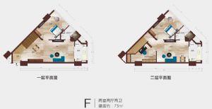 F公寓户型平面图-二室二厅二卫二厨-户型图