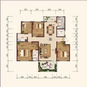 住宅B-3奇-三室二厅二卫一厨-户型图