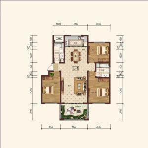 住宅L-1奇-三室二厅二卫一厨-户型图