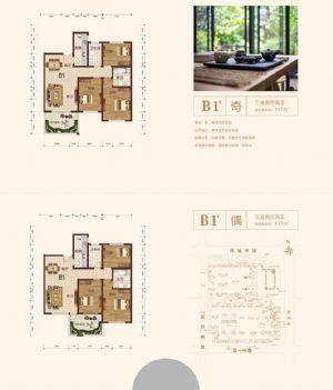 B1'-三室二厅二卫厨-户型图