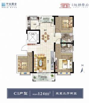 C1-三室二厅二卫一厨-户型图