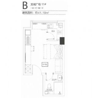 B-一室一厅一卫一厨-户型图