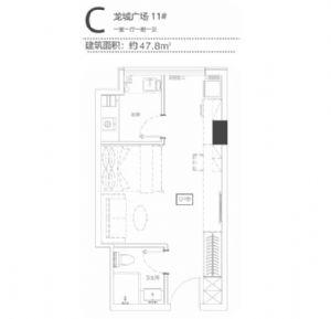 C-一室一厅一卫一厨-户型图