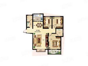 3F户型-三室二厅二卫一厨-户型图
