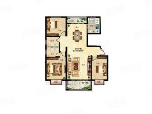 3G户型-三室二厅二卫一厨-户型图