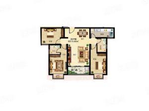 3E户型-三室二厅二卫一厨-户型图