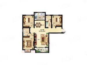 3D户型-三室二厅二卫一厨-户型图