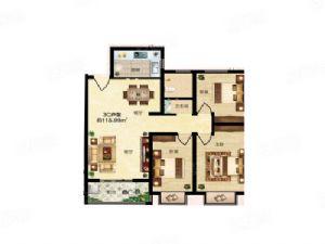 3C户型-三室二厅二卫一厨-户型图