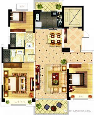 YJ-125-三室二厅二卫一厨-户型图