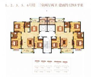 1,2,3,5,6号楼-三室二厅二卫一厨-户型图