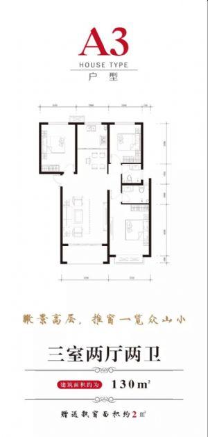 A3户型-三室二厅二卫一厨-户型图