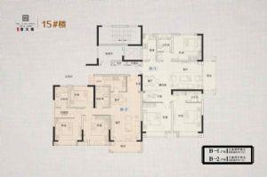 B-1/2户型-三室二厅二卫一厨-户型图