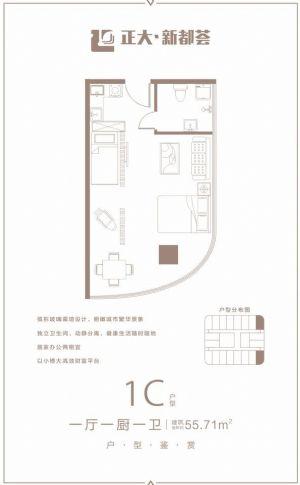1C户型-一室一厅一卫一厨-户型图
