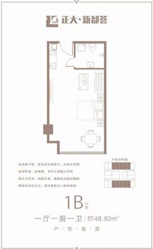 1B户型-一室一厅一卫一厨-户型图