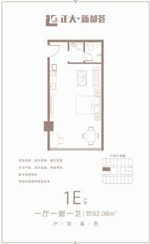 1E户型-一室一厅一卫一厨-户型图