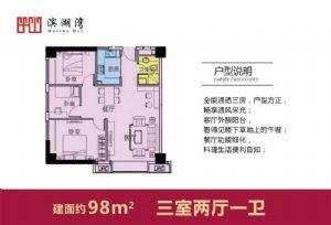 98-三室二厅一卫一厨-户型图