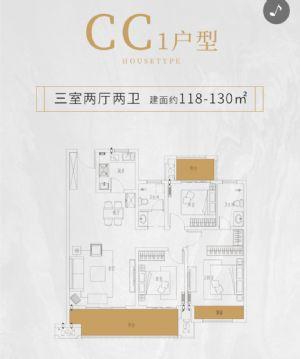 CC1户型-三室二厅二卫一厨-户型图