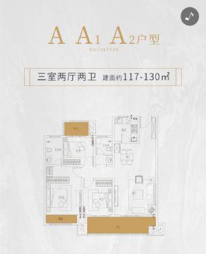 A A1 A2户型-三室二厅二卫一厨-户型图
