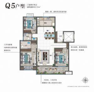 Q5户型-三室二厅二卫一厨-户型图