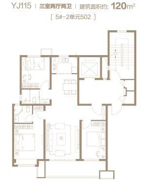 YJ115-三室二厅二卫一厨-户型图