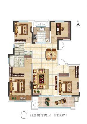 C户型-四室二厅三卫一厨-户型图